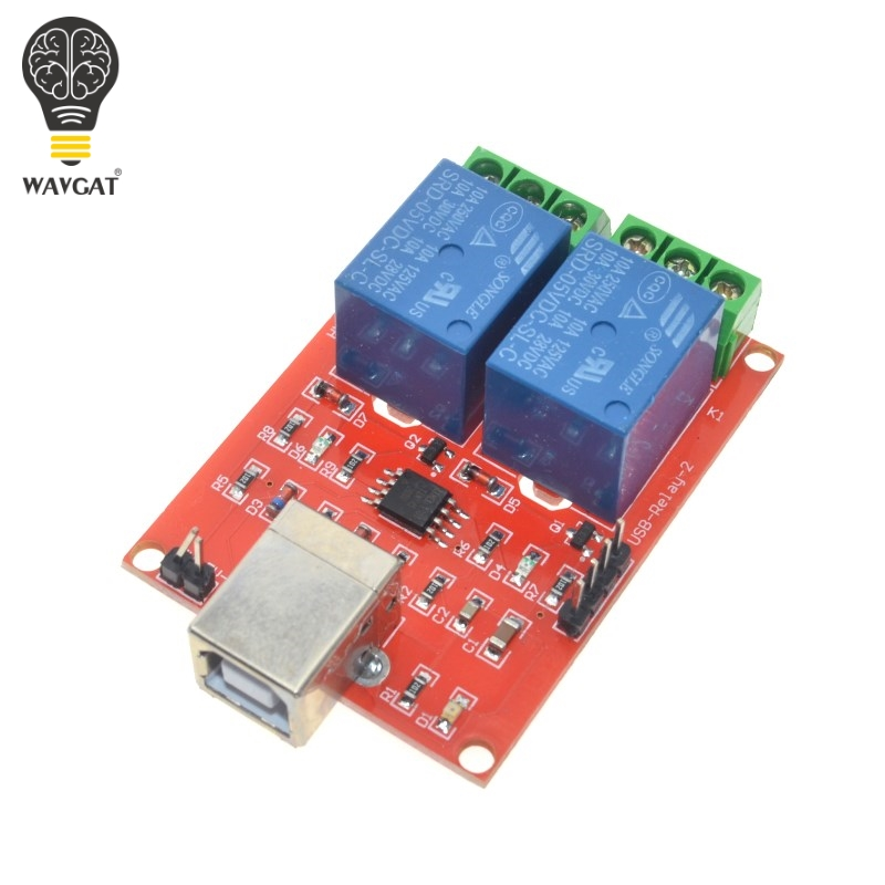 2 Channel USB Relay Module Programmable Computer Control For Smart Home DC 5V WAVGAT2 Channel USB Relay Module Programmable Computer Control For Smart Home DC 5V WAVGAT