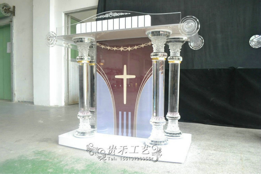 Customized Logo Crystal Column Pulpit Aceylic Podium For Church For School For Speech