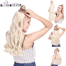 S-noilite 20 inch Invisible Wire No Clip One Piece Halo Hair Extensions Secret Fish Line Hairpieces Wave Straight Synthetic(China)