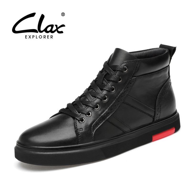 CLAX Mens High Boots Real Leather Spring Autumn Casual Leather Shoe Male Boot Winter Plush Fur Snow Shoes Warm chaussure homme mens casual shoes spring autumn mens split leather flats shoes platform zapatillas deportivas chaussure homme