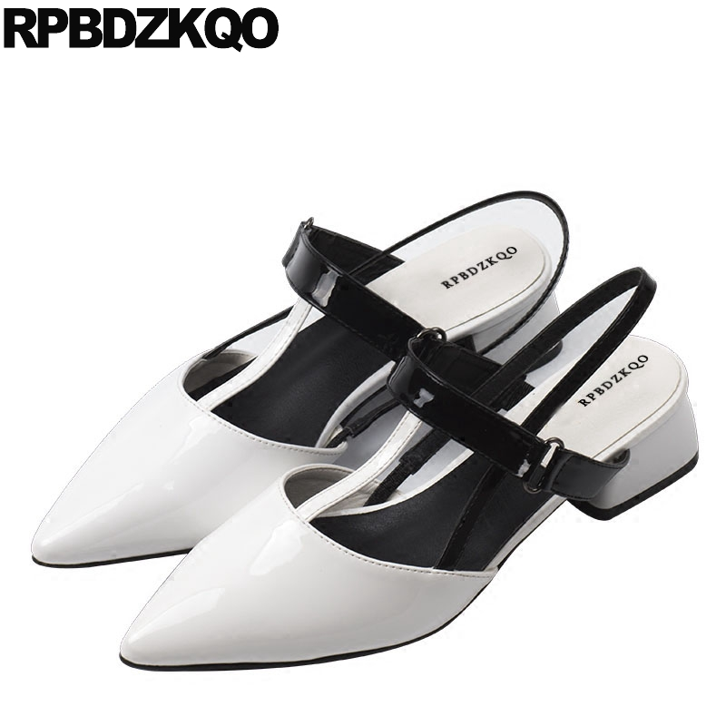 Mary Jane Cheap Shoes China Sandals Pointed Toe Black And White Retro Designer Women Patent Leather Low Heel Slingback T Strap nude designer famous brand shoes high quality patent leather mary jane pointed toe flats low heel ballet ladies black ballerina