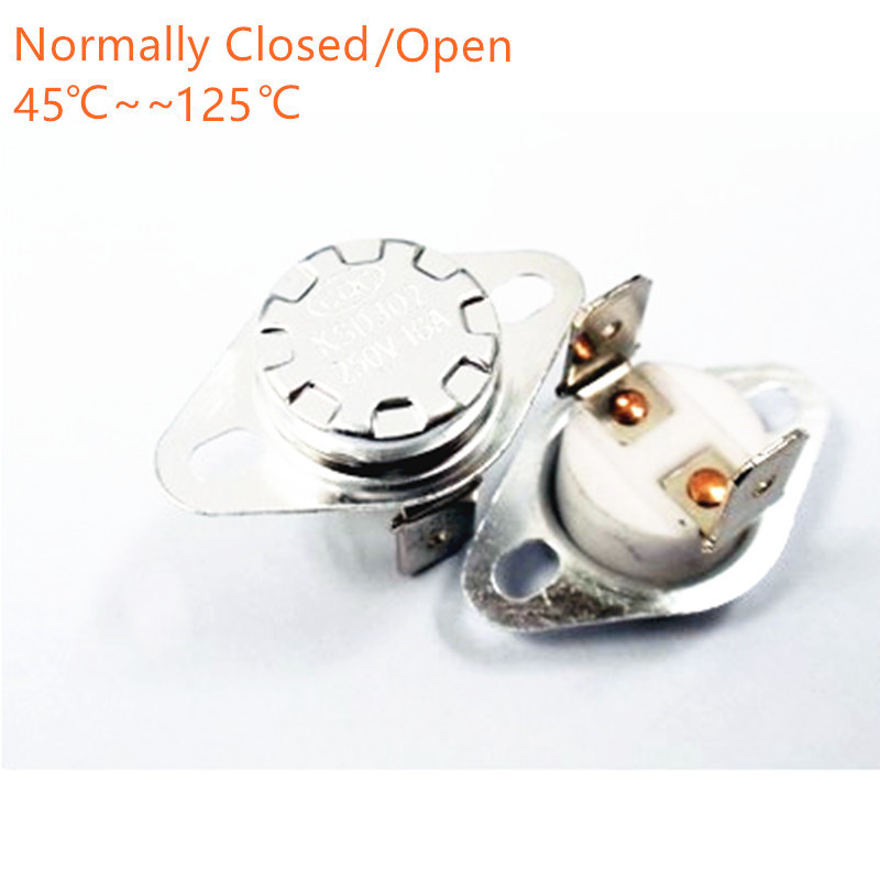 цена на 1pcs KSD302 16A 250V 40-130 degree Ceramic KSD301 Normally Closed Temperature Switch Thermostat 45 55 60 65 70 75 80 85