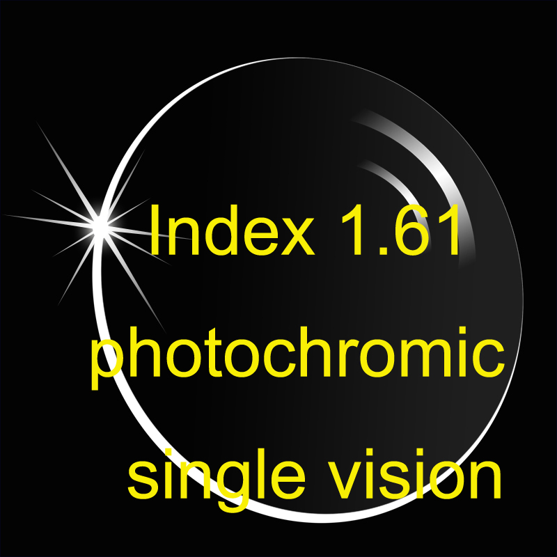 Aspheric Photochromic single vision lens Index 1.61 AR-beläggningar / tunnare receptlinser / övergångslins / brungrå