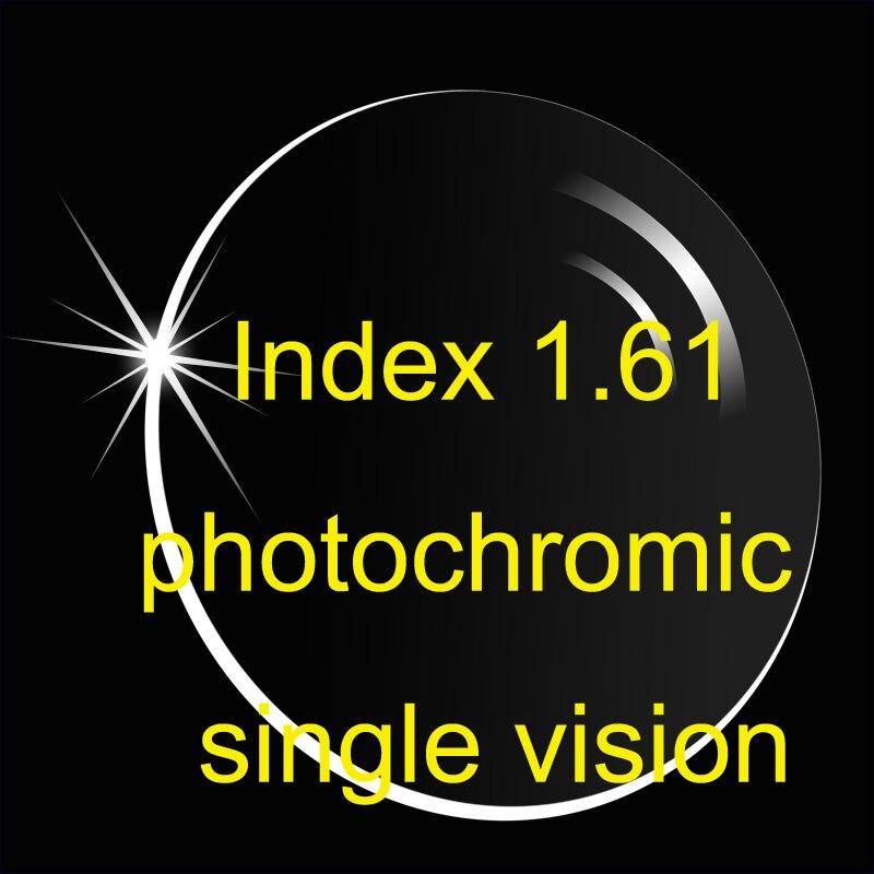 Lentille photochromique asphérique à vision unique indice 1.61 revêtements AR/lentille de Prescription plus mince/lentille de Transition/gris brun