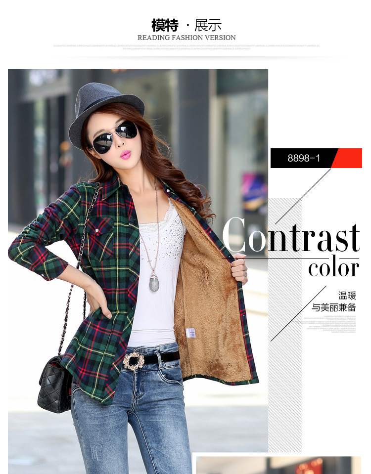 19 Brand New Winter Warm Women Velvet Thicker Jacket Plaid Shirt Style Coat Female College Style Casual Jacket Outerwear 3