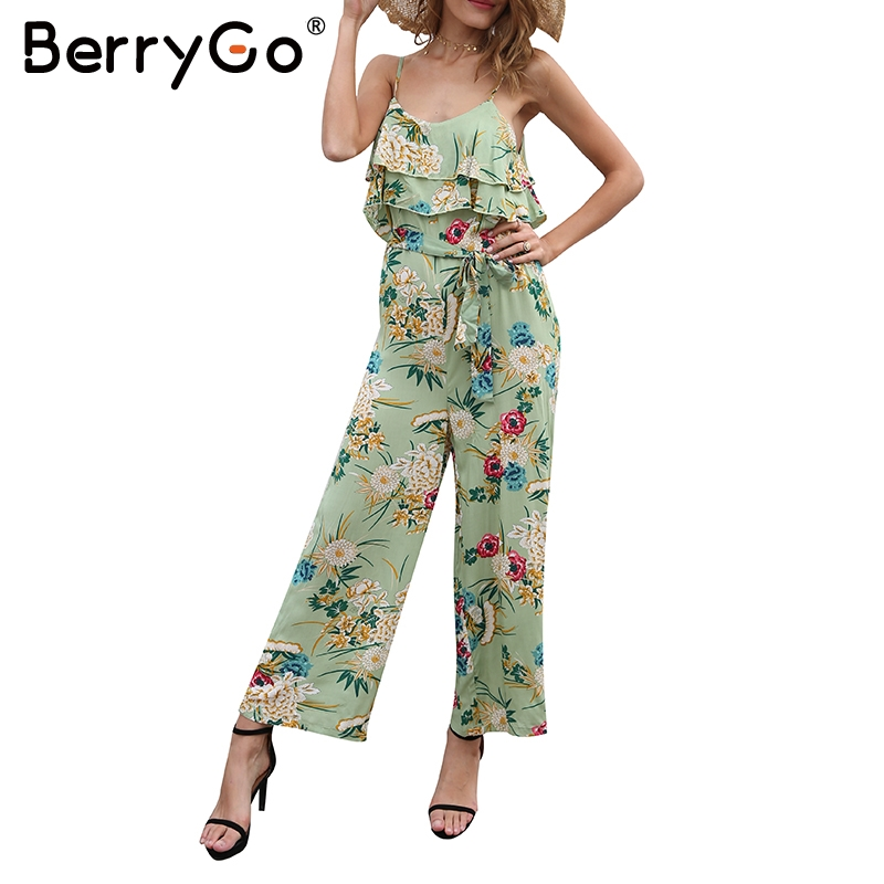 f0bde154153 BerryGo Boho floral print ruffle jumpsuit women Sexy tie up waist wide leg  loose jumpsuit Summer strappy beach playsuit 2018