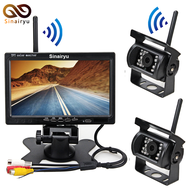 Wireless Backup Camera System with 7 LCD Color Car Monitor, 2 Rear View Cameras IR Night Vision For RV Agricultural Vehicle