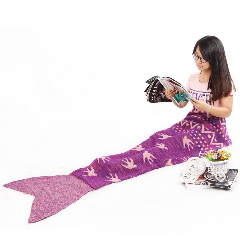 New Fashion Swallow Mermaid Tail Blanket Crochet Adult & Kids Soft Knitted Mermaid Blanket zeemeerminstaart deken -NF
