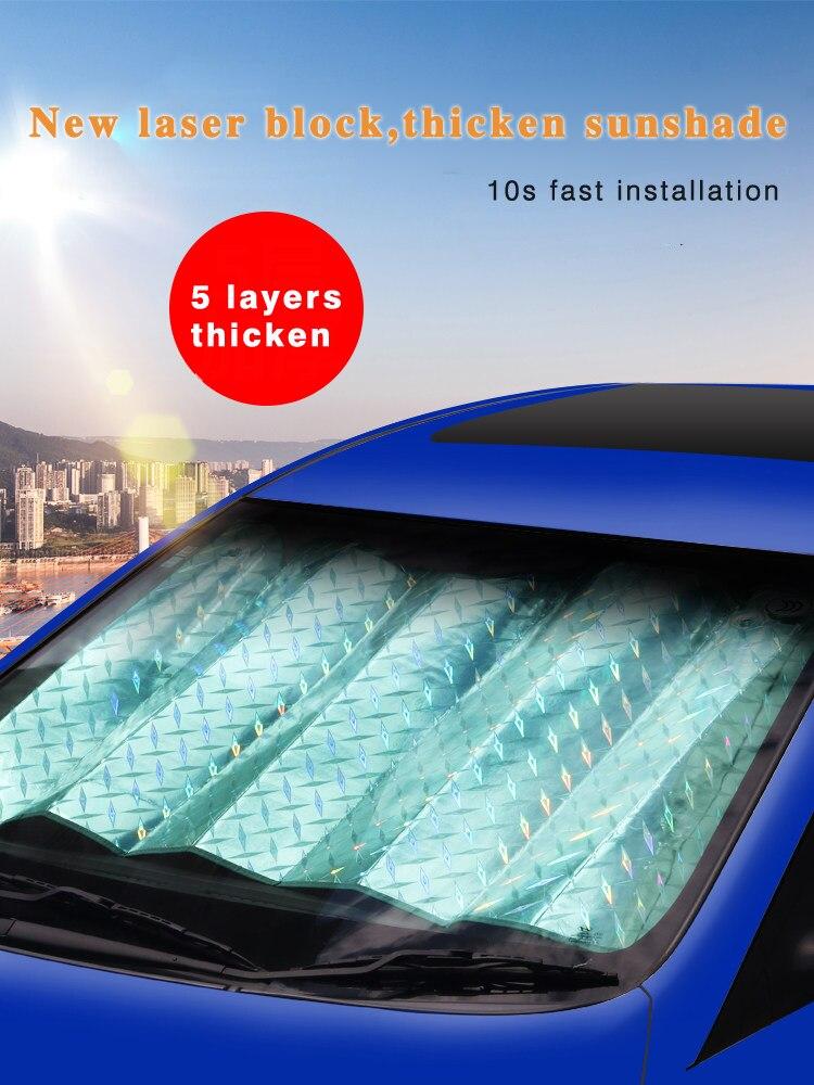 Aluminum Foldable Front Block Auto Car Window Visor Cover Sunshade UV Block