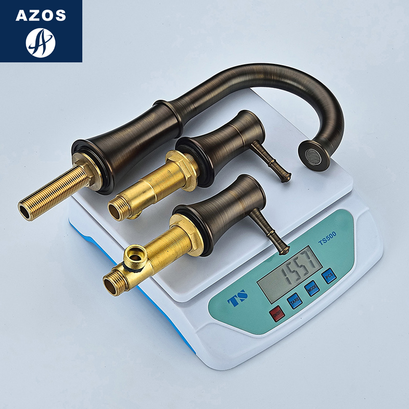 Azos Split FaucetSoft Basin Brass ORB Cold and Hot Switch Rotatable Bathroom Below Counter Basin Kitchen Double Handle Three Hol