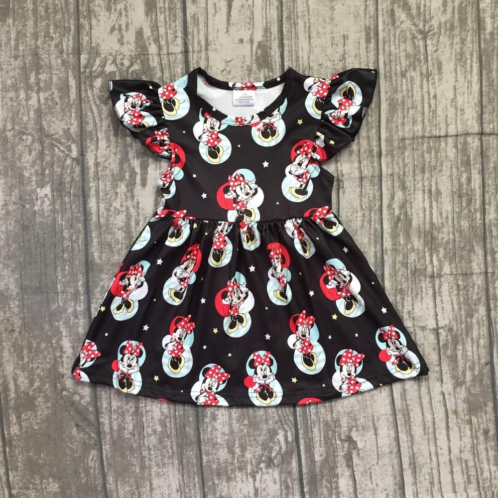 EXCLUSIVE new 2018 Summer new arrivals cartoon mouse pattern short sleeve dress baby kids girls boutique maxi dress milk silk