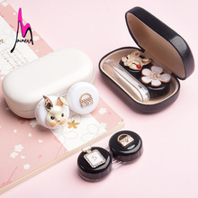 Hight Quality Cute Mini mental Contact Lens Case for lenses luxury container with sticker