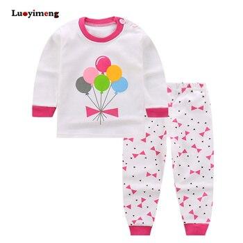 1fa00765d Primavera otoño 2 pieza pijamas para niñas de bebé de algodón de manga  larga de los niños conjuntos de ropa de dibujos animados ropa de dormir  niños Niña ...