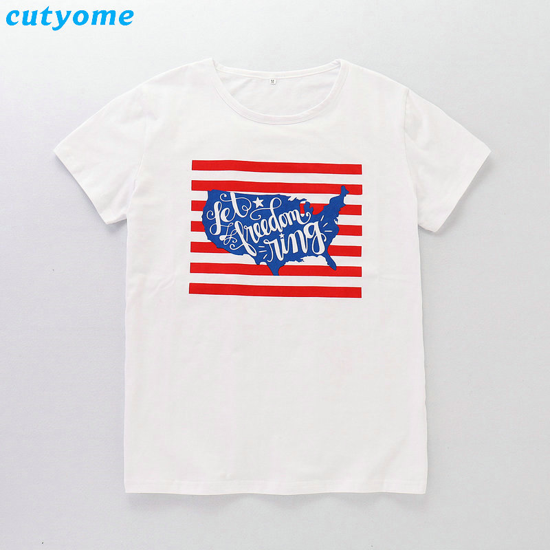 2019 Family Matching Outfits July 4th T-shirt Mother Daughter Father Son Independence Day Tee Tops Blouse Summer Cotton Summer (9)