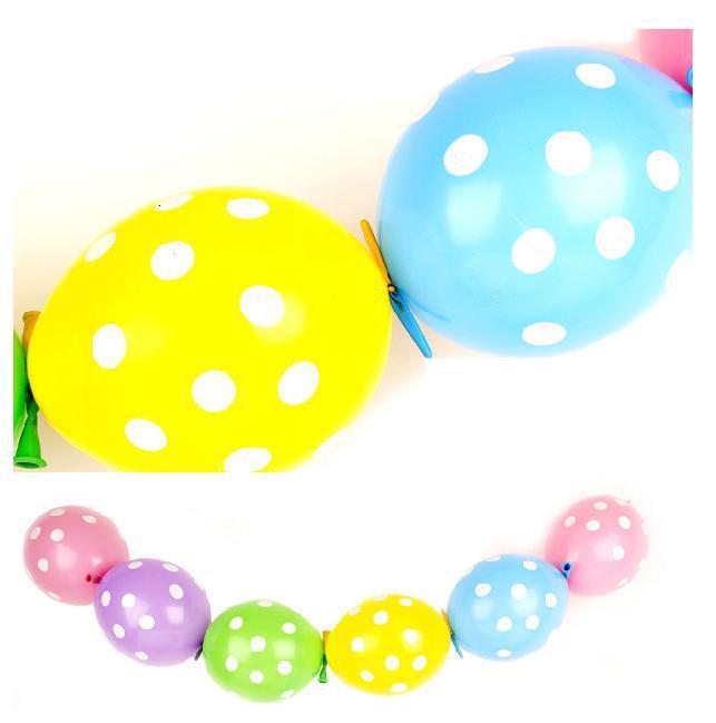 30pcs/lot Cartoon birthday balloons decoration 6inch ploka dot latex tail balloo