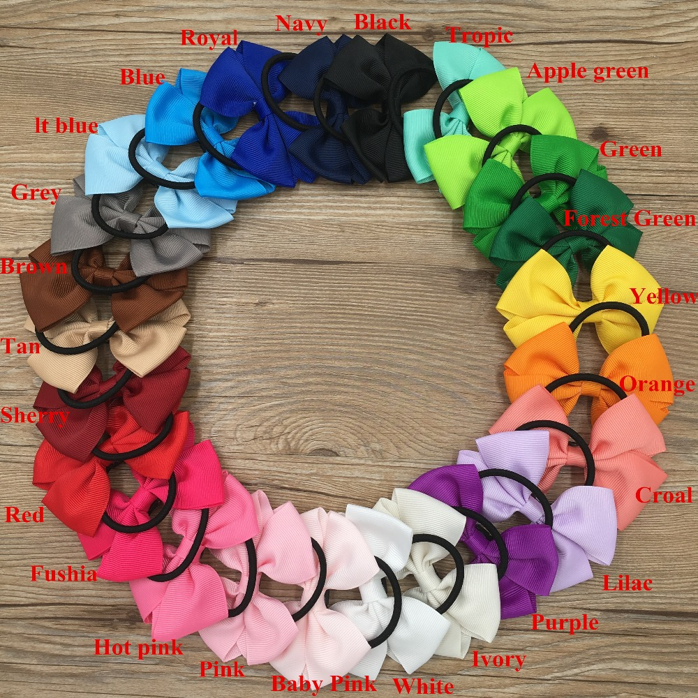 XIMA 25pcs 3''Ribbon Hair Bows Knot Barrettes Head Rope Ponytail Holder Hair Accessories