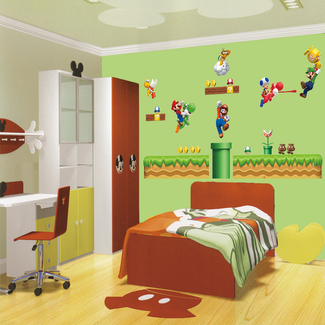 Free Shipping Super Mario Bros Wall Decal Large Size 140cm X 220cm New  Arrival Hot Sale