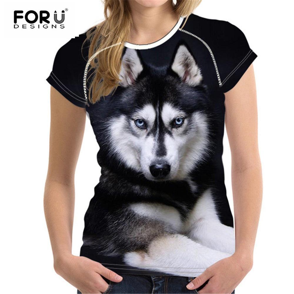 FORUDESIGNS Huskie Printing Women Tops Novinka T Shirt 2018 Summer Woman Shirt for Ladies Bodybuilding Tee Top Clothes