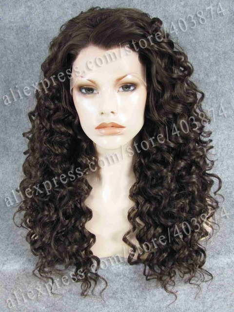 N16-6/8# elegant Rihanna Hair Style Natural Brown Color kinky Curly Wig Synthetic Lace Front Wigs