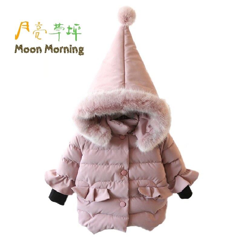 ФОТО Moon Morning Kids Parkas 12M~6T Hooded Patchwork Ruffles Fur Woven Single Breasted Children Parkas Wizard Winter Puffer Garment