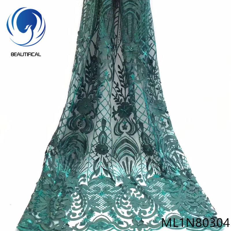 Beautifical 5Yards french lace fabrics Fashion Laser Cutting Jacquard lace sequins fabric for wedding lace beads fabrics ML1N803Beautifical 5Yards french lace fabrics Fashion Laser Cutting Jacquard lace sequins fabric for wedding lace beads fabrics ML1N803