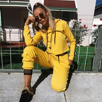 TAUPIN AM Autumn Leisurewear Sportswear Tracksuit For Women Long Sleeve Cropped Hoodies Sweat Pant Yellow 2