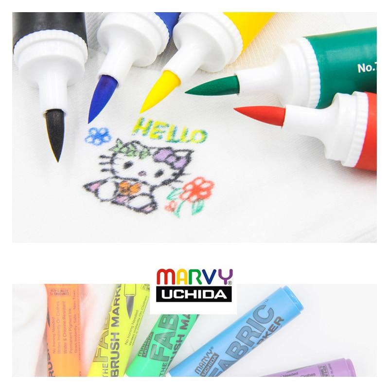 Marvy  722 Soft Head Sweater Markers Pen 6Pcs Set Graffiti Fabric Alcohol Ink  Brush Pen Water Resistant Clothing Marker Pe