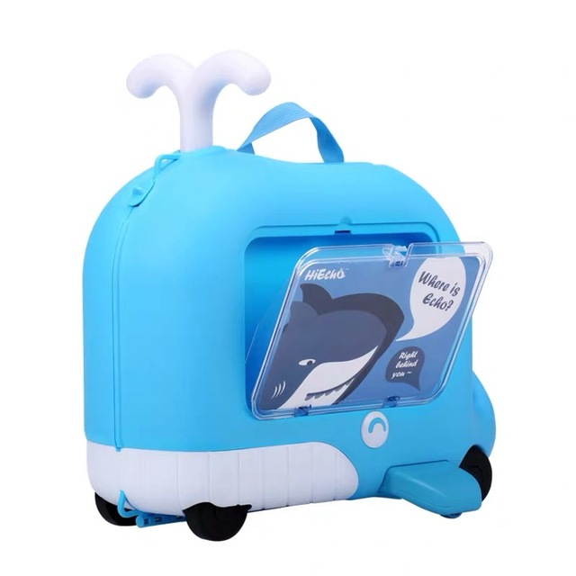 Children Carry On Sit Suitcase Baby Ride On Suitcase Travel Box Rolling Luggage For Trip