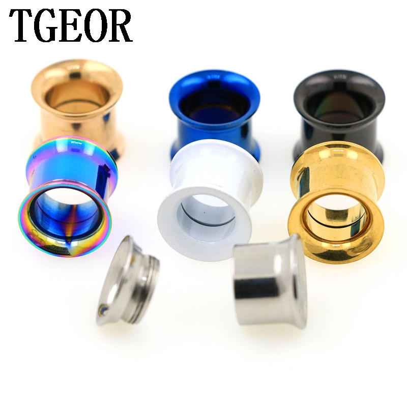 free shipping Hot internally thread titanium plated colors double flare ear tunnels 1pcs gauges Stainless Steel Flesh Tunnel