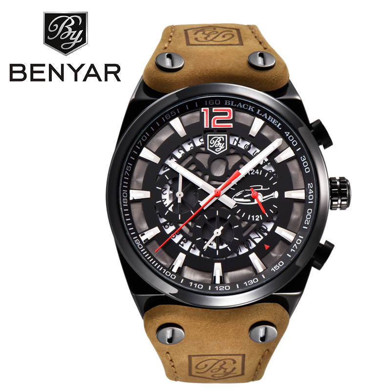 BENYAR Chronograph Sport Quartz Watch Men Fashion Brand Military Large Dial Mens Watches Leather Casual Male Relogio with Box pattous mens sports watch black genuine leather chronograph dial date sport quartz watches miyota quartz wrist watch gift box
