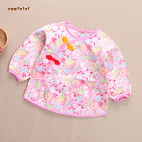 2017 Baby Bibs Waterproof Long Sleeve Bibs Burp Double Layer Cotton Polyester Cute Baby Feeding Clothes