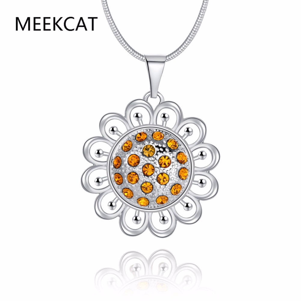Islam Allah Necklaces & Pendants silver Plated Rhinestone Vintage Sunflower Necklace Women Muslim Islamic Jewelry
