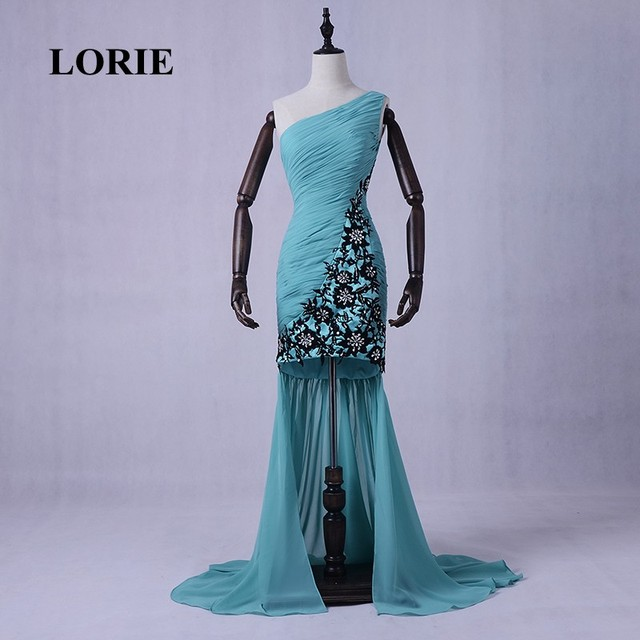 57a0776832 LORIE Mermaid Evening Dresses One Shoulder Pleats Chiffon Green Pleats Plus  Size Mother Wedding Party Dress Prom Gown 2019 New