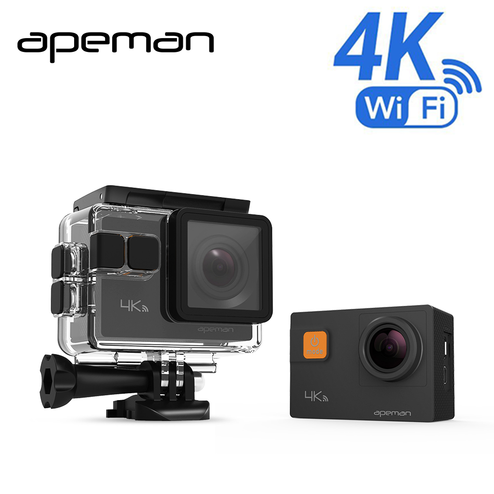 Apeman Action Camera A80 4K Wifi Action Cam hd Waterproof Sport Video Camera  With 20mp Camcorder New Camera Case One Battery 1080p eken h9 ultra hd 4k wifi 2 0 inch action sport camera video camcorder