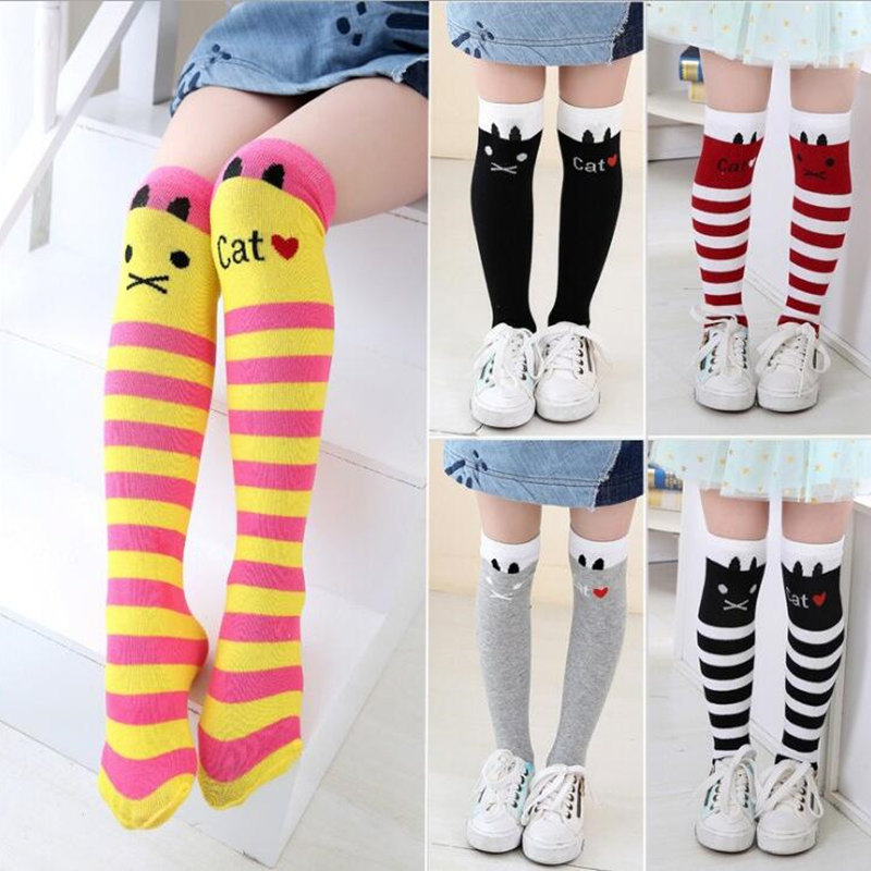 Girls Socks Cotton Baby Girl Long Sock Cartoon Lovely Cat Knee High Socks Toddler Kids Dancing Socks Leg Warmer For 3-12 Years