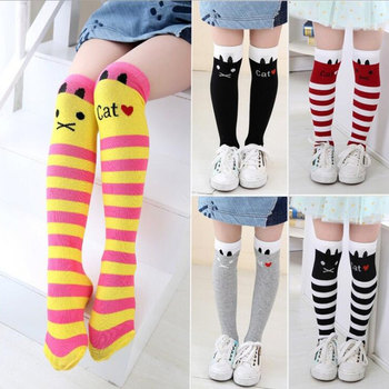 Girls Socks Cotton Baby Girl Long Sock Cartoon Lovely Cat Knee High Socks Toddlers Kids Dancing Socks Leg Warmer For 3-12 Years unisex baby girls long socks infant toddler knee high socks for baby boy girl white leg warmer cotton warm clothing accessories