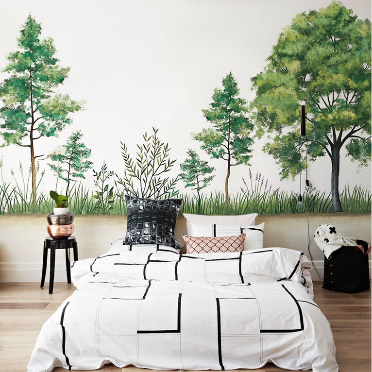 Hand-painting 3d Wall Murals Wallpaper for Walls Green trees Murals Background 3d Photo Wall Mural Wall paper for Living room green flowers box wallpapers 3d room wallpaper for walls 3 d living room wall paper murals wallpaper mural roll
