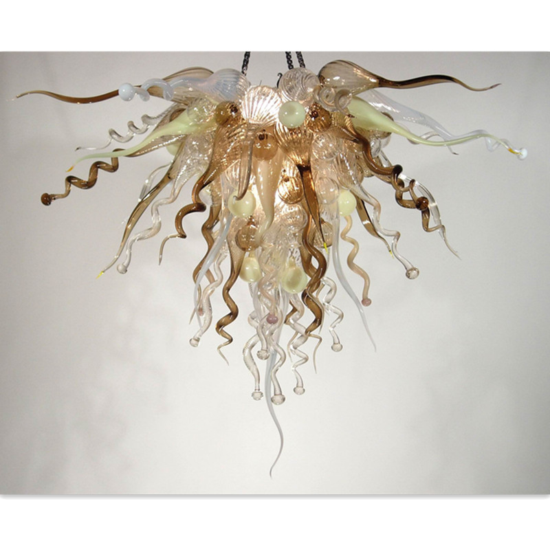 Beauty Bubbles Blown Glass Chandelier Elegant Brown Beige Livingroom Lightings
