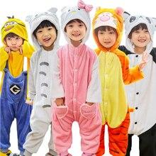 Flannel Cartoon Children's sleepwear Totoro pikachu Cat Panda Stitc kids baby girl pyjama animal dinosaur girls unicorn pajamas