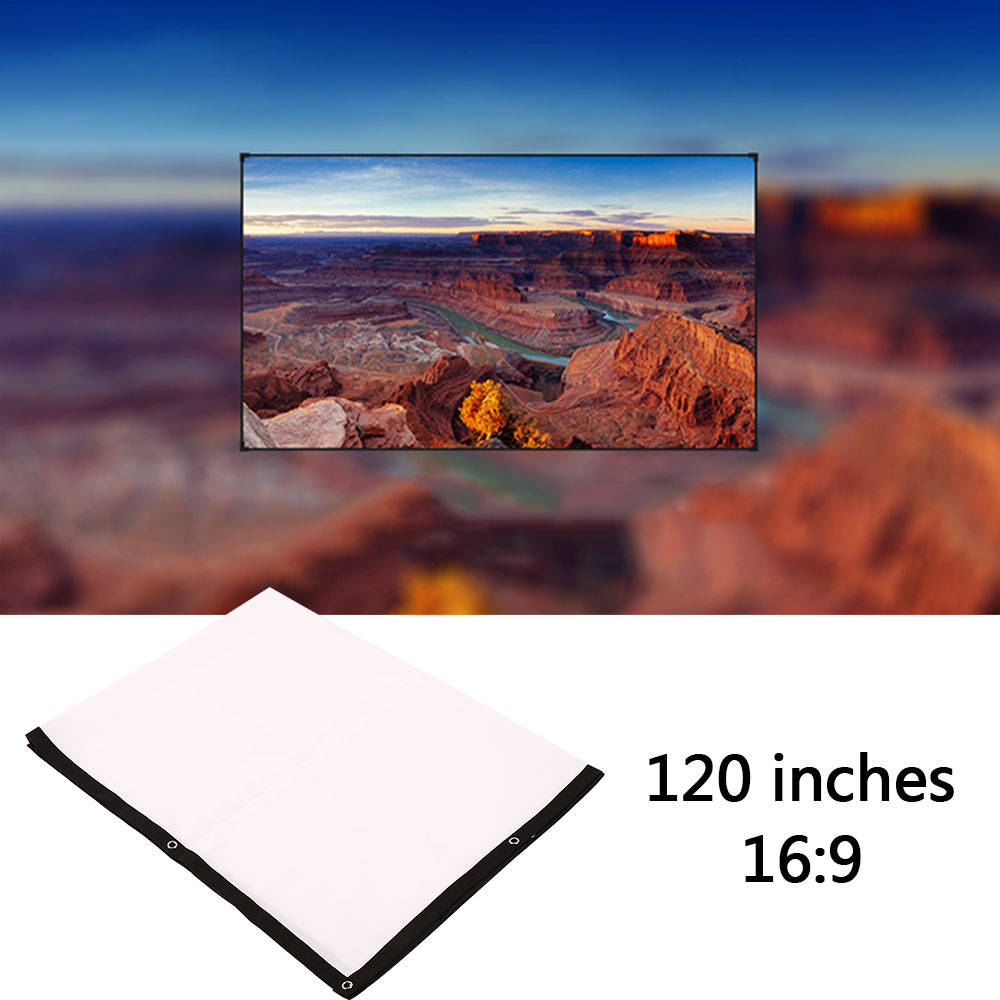 Foldable 16:9 Projector 60 72 84 100 120 150 inch White Projection Screen For HD Projector Home Theater Cinema Movies Party 4
