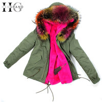 HEE GRAND 2016 Army Green Large Raccoon Fur Collar Hooded Women Coat Parkas 2 In 1