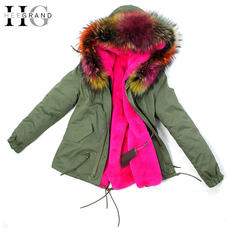 HEE GRAND 2018 armée vert GRAND col de fourrure de raton laveur à capuche femmes manteau & Parkas 2 en 1 doublure amovible veste d'hiver WWM1449