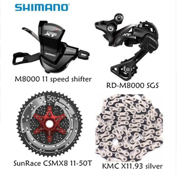 Shimano XT M8000 4 unids bicicleta de la bici mtb 11 kit de velocidad groupset del RD-M8000 Shifter con casete SunRace K7 caden unisex ciclo de la bici mtb de la mask al aire libre protection uv cabeza balaclava