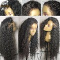 Full Lace Human Hair Wig Bleached Knots Virgin Brazilian Hair Deep Curly Lace Front Wigs With Baby Hair Glueless Human Hair Wigs