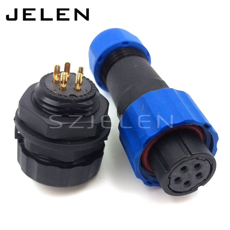 цена на SD16 , Waterproof 5-pin plug female and 5 pin socket Male connector, IP68, Wire connectors, Electric car power connector 5 pins