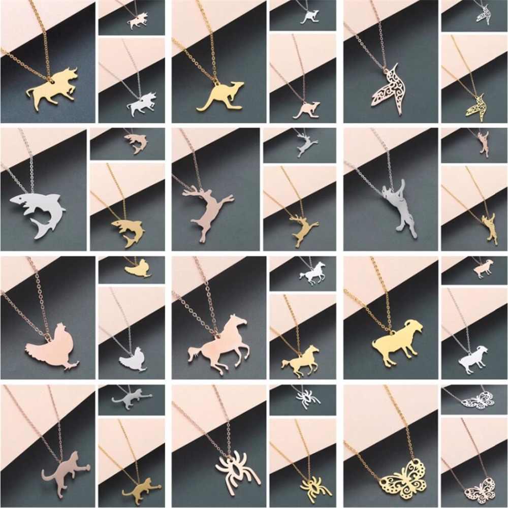 QIAMNI Trendy Pássaro Veados Ovelhas Frango Carne de Golfinho Leopardo Gato Aranha Animal Borboleta Pingente de Colar Presentes Do Aniversário Do Partido