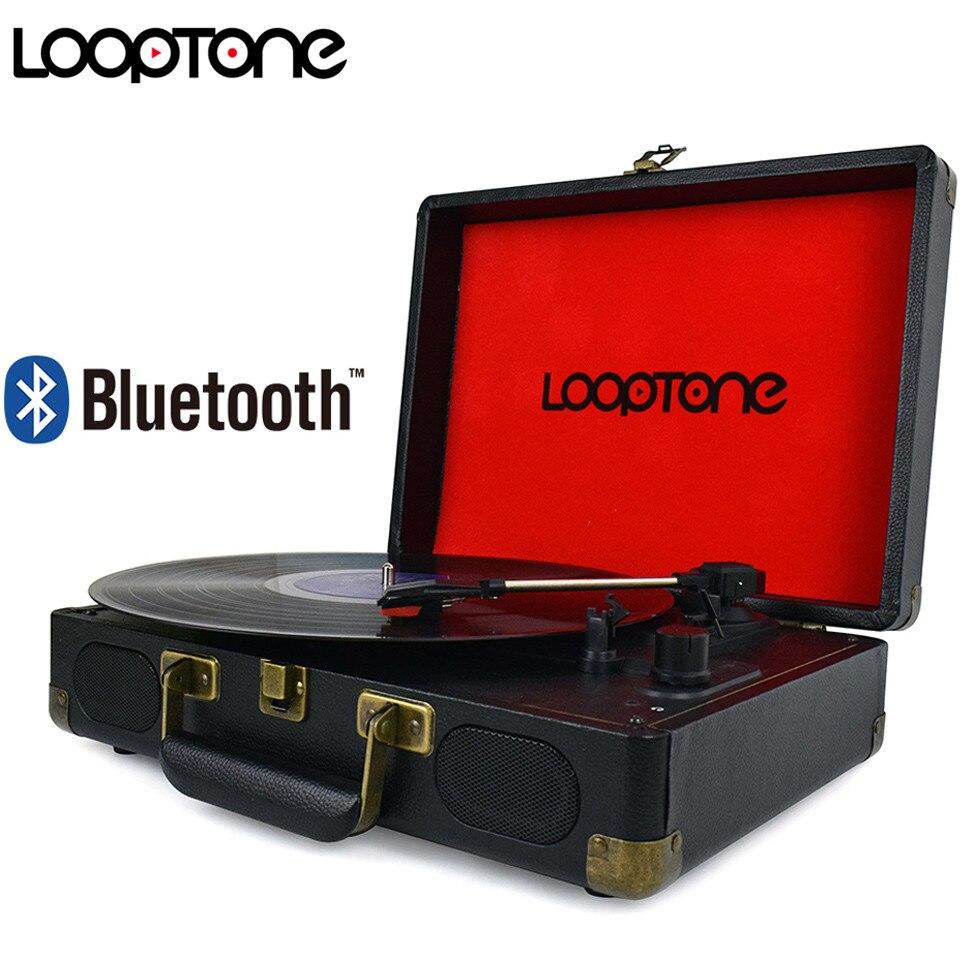 LoopTone Vintage 33/45/78 rpm Bluetooth Portable Valise Platine Vinyle LP Tourne-disque Aux-en Ligne -out AC110 ~ 240 v Noir