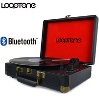 LoopTone Vintage 33 45 78 RPM Portable Suitcase Turntable Vinyl LP Record Player Phono Players Aux