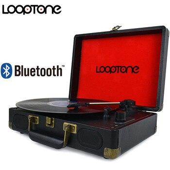 LoopTone Vintage 33/45/78 RPM Bluetooth portátil maleta tocadiscos vinilo LP reproductor de registro Aux-in Line-out AC110 ~ 240V negro