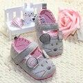3 unids/lote lindo primeros caminante de algodón gris ratón suave con el patrón sombreado suave Toldder Prewalkers zapato PN15